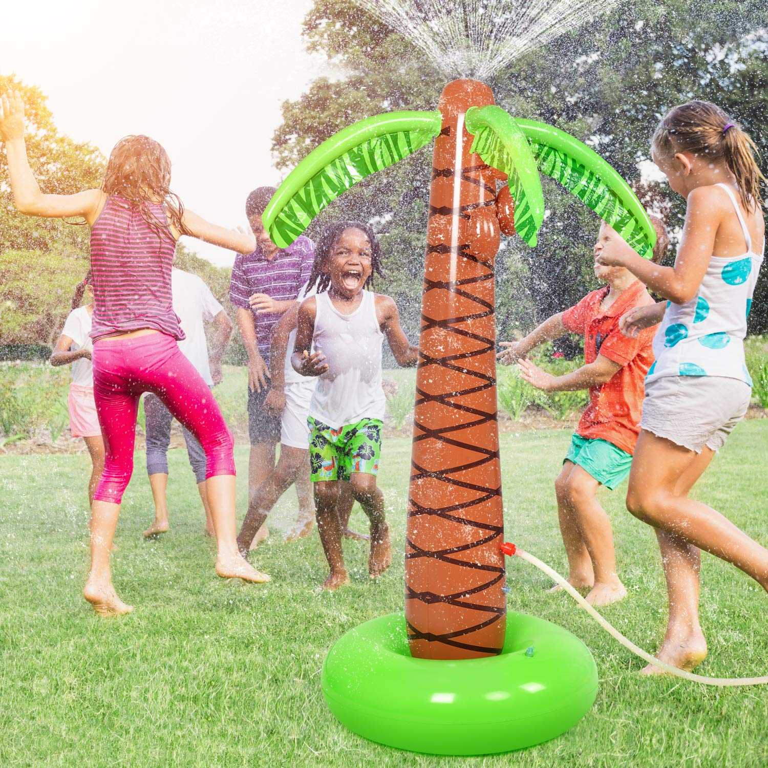 BATTOP Water Play Sprinkler Inflatable Palm Tree Kids Spray Water Toy Outdoor Party Summer Fun for Backyard Play 61''