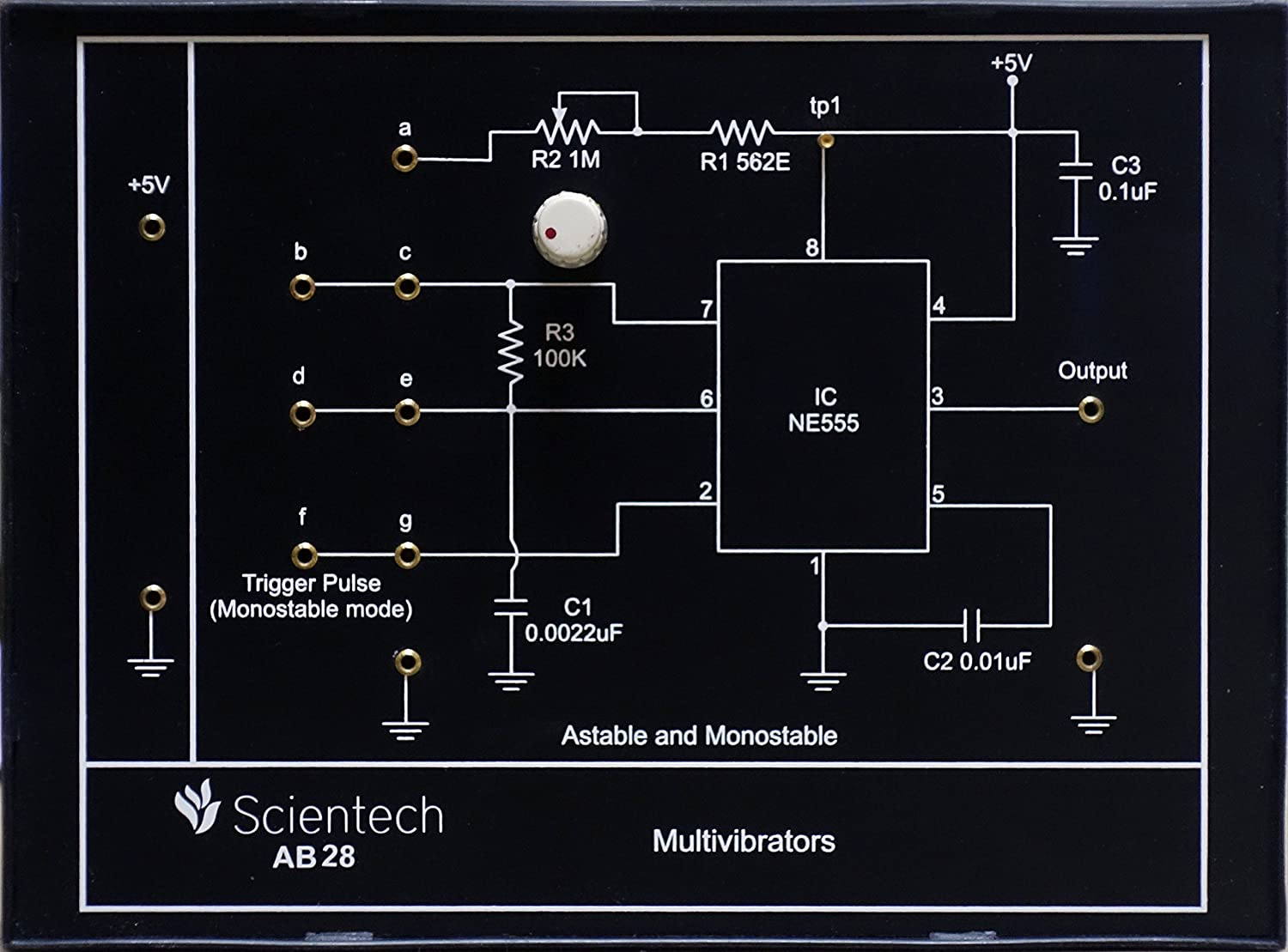 Ab28 Multivibrators Astable And Monostable Experiment Board Above Figure Shows The 555 Timer Multivibrator Circuit Diagram Trainer Kit With 1 Year Warranty Without Power Supply