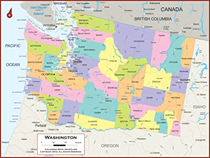 Amazon Com 42 X 32 Washington State Wall Map Poster With Counties