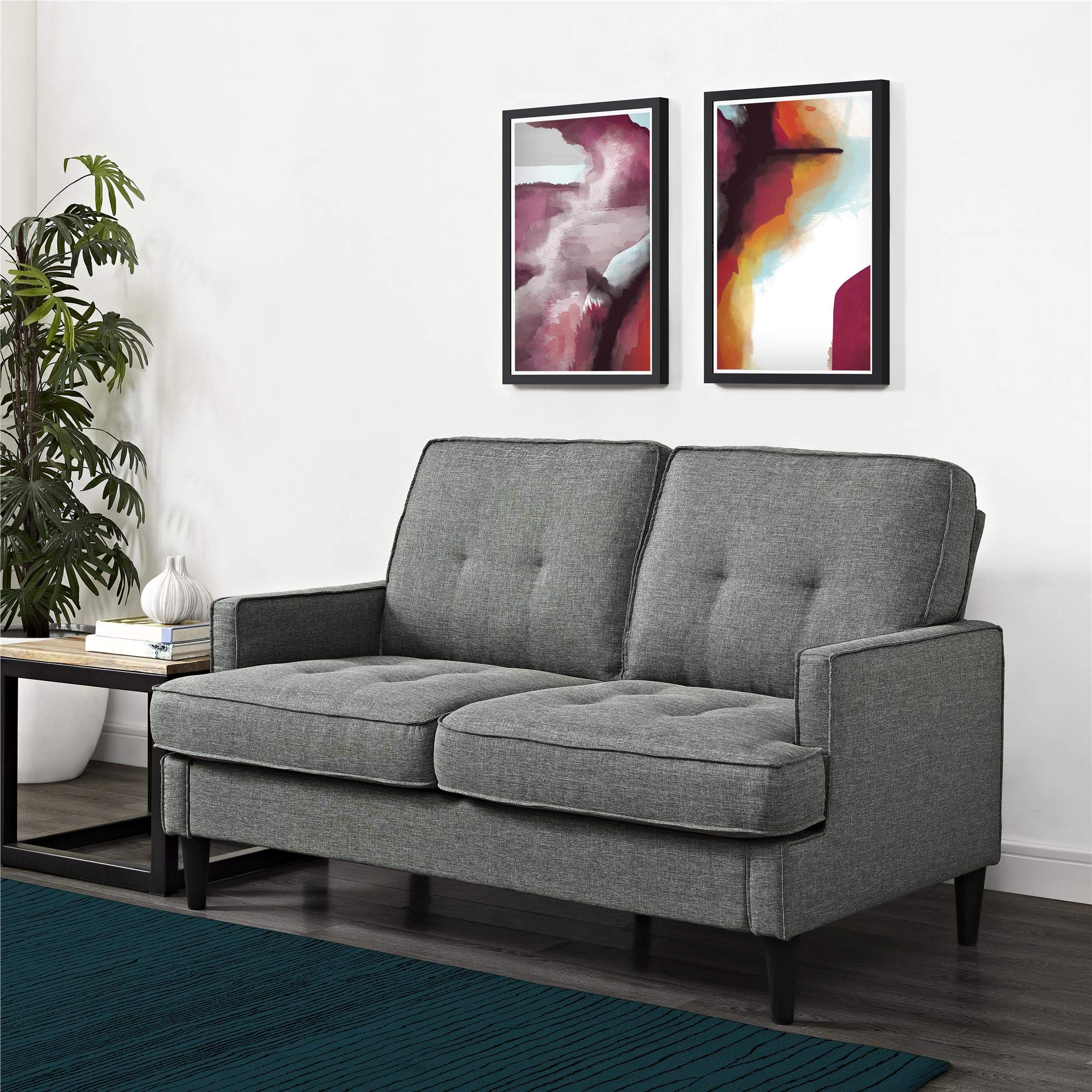 REALROOMS Dana Mid-Century Modern Loveseat, Living Room Couch, Gray by REALROOMS