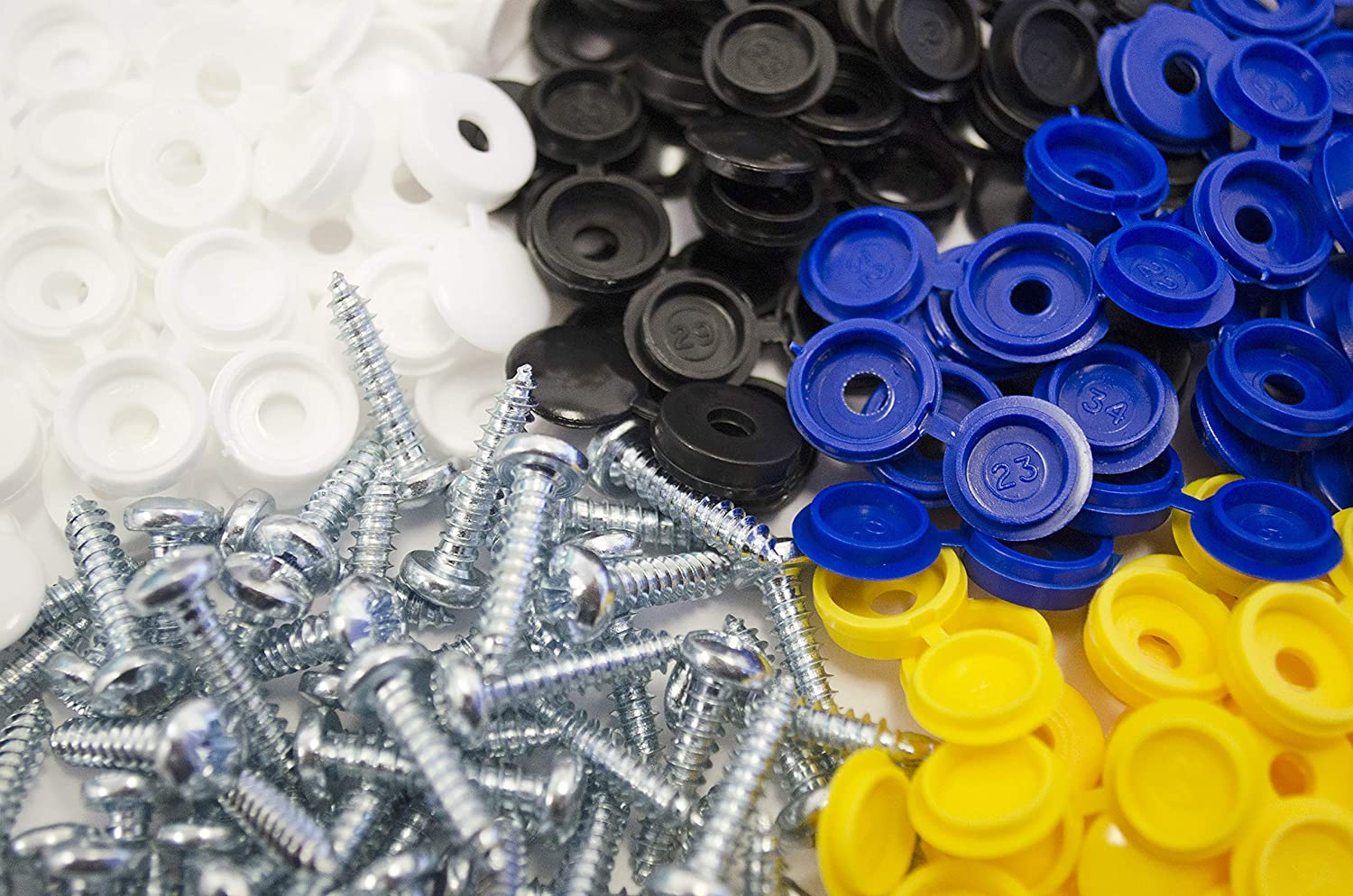 1000 X NUMBER PLATE CAR FIXING FITTING KIT SCREWS BLUE WHITE YELLOW BLACK CAPS