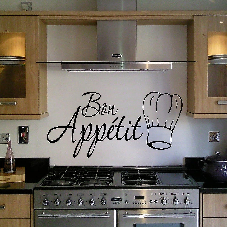 Bon Appetit decorativo con texto en inglés de Vinilo Graphic adhesivo con gorro de cocinero de cocina adhesivo de vinilo: Amazon.es: Hogar