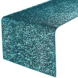 "PONY DANCE Glitzy Table Runner - Premium Quality Sparking Sequins Table Runners for Events Christmas/Party/Birthday/Wedding/Banquet Decoration, 14"" x 108"", Teal"