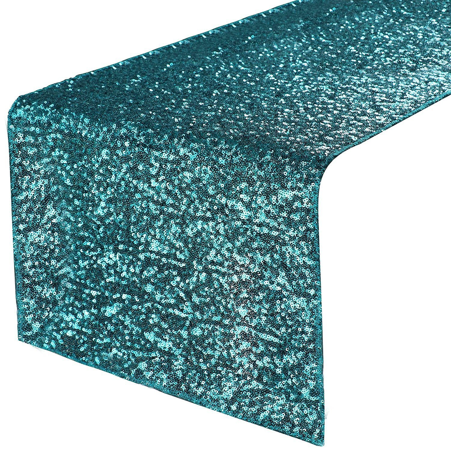 PONY DANCE Glitzy Table Runner - Premium Quality Sparking Sequins Table Runners for Events Christmas/Party/Birthday/Wedding/Banquet Decoration, 14'' x 108'', Teal