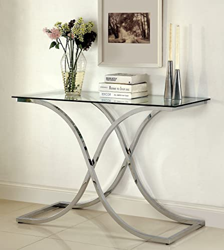 Furniture of America Kavetto Contemporary Sofa Table, Chrome
