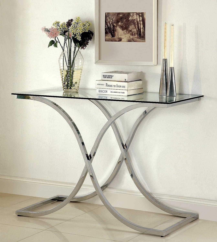 Furniture of America Kavetto Contemporary Sofa Table, Chrome