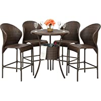 Best Choice Products 5-Piece Wicker Patio Bistro Table Set with Ice Bucket (Brown)