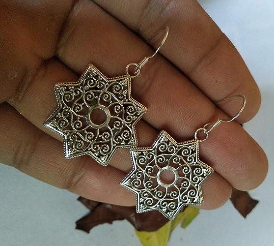 long sterling silver earrings boho botanical large disc earrings round floral dangle earrings granulated oxidized Bali bead earrings drop