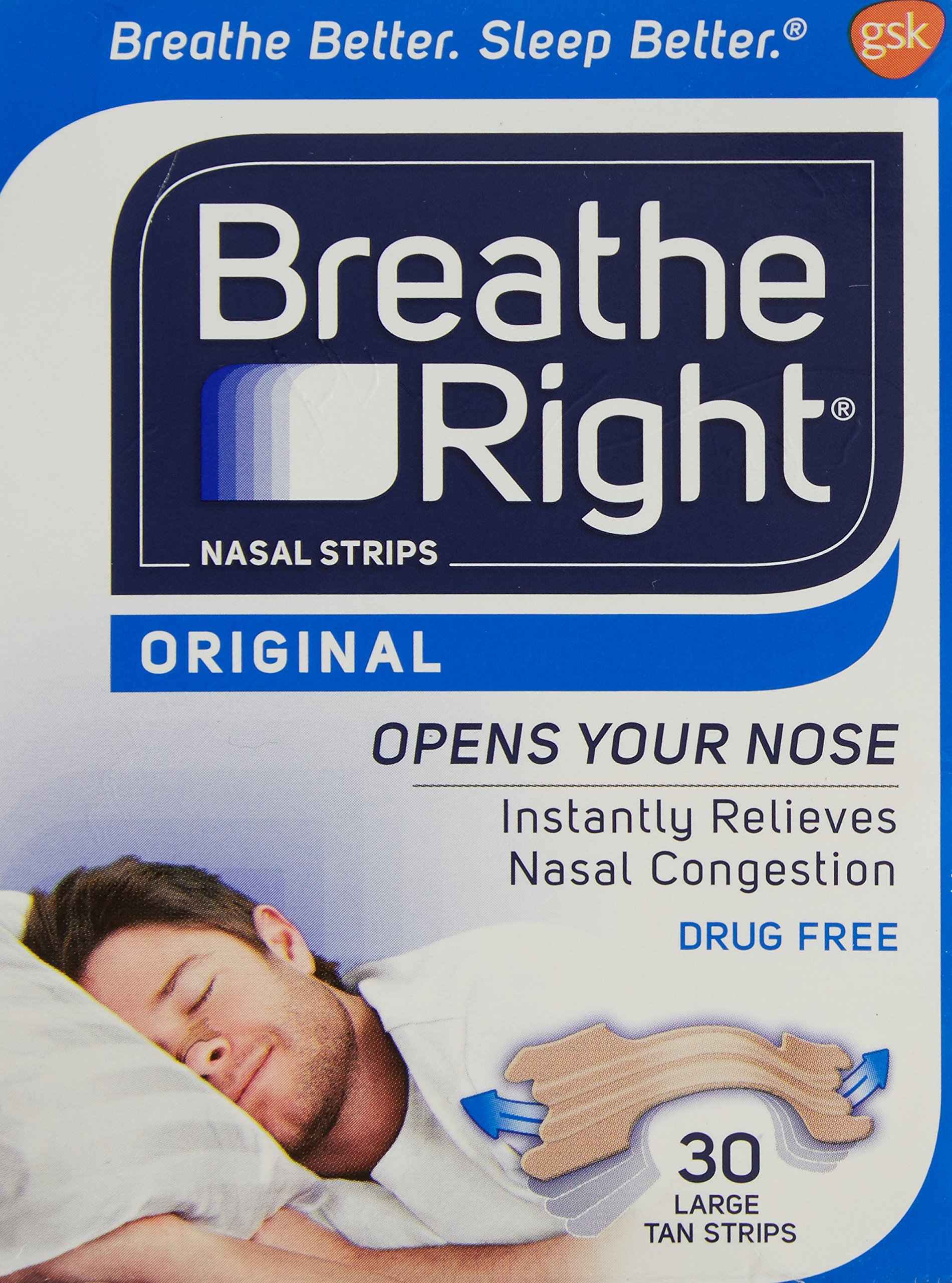 Breathe Right Nasal Strip, Large (Tan), 60 Strips (Value Pack) by Glaxo Smith Klein