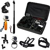 TecTecTec Kit d'accessoires pour caméras d'action: Housse de rangement XL, Monopode/Selfie/Perche téléscopique, Harnais pectoral, Fixation ventouse, Fixation barres/vélos, Flotteur, Harnais frontal