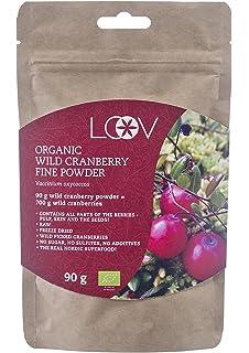 Arándano agrio en polvo, silvestre, orgánico, 100% obtenido a partir de fruta entera, crudo, suministro para 18 días, fuente…