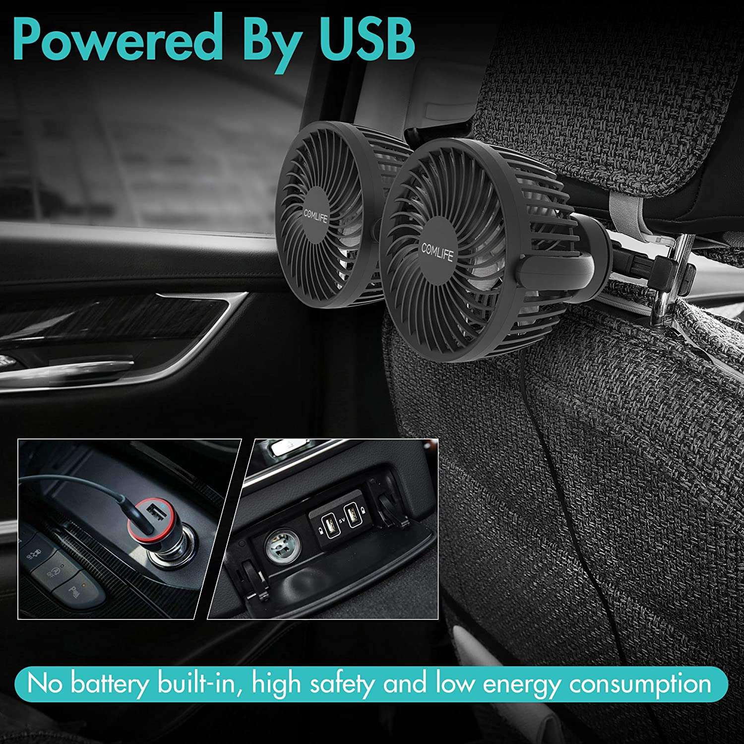 Wide Angle Adjustable for Rear Seat Baby Passenger Pet And More Air Circulator Fan with Strong Airflow Dual Head Fan for Backseat USB Car Fan Ultra Quiet
