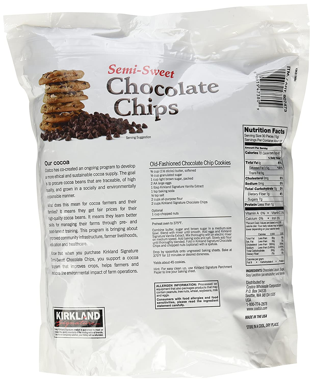 Amazon.com : Kirkland Signature Semi-Sweet Chocolate Chips, 72 ...