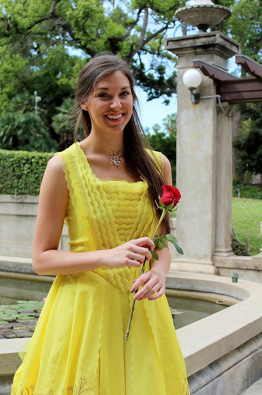 Amazon Com Belle 2017 Dress Beauty The Beast 2017 New Belle Costume Belle Yellow Dress Belle Gold Ballgown Belle Cosplay Adult Dress Handmade