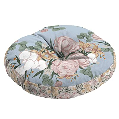 Floral Round Bistro Seat Cushion Blue Transitional Polyester: Home & Kitchen
