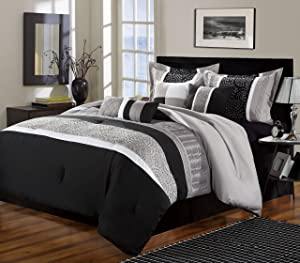 Chic Home Euphoria 8-Piece Embroidered Comforter Set Embroidery Pintuck Bedding with Bed Skirt and Decorative Pillows Shams, Queen Black White