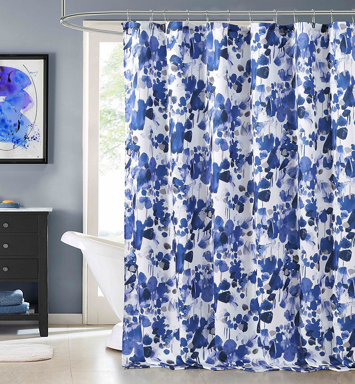 Amazon.com: Laurent Indigo Blue Purple Fabric Shower Curtain ...