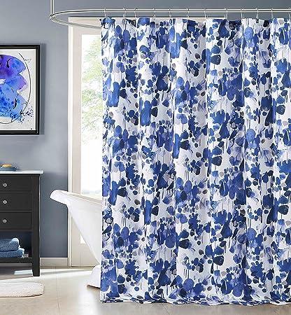 Laurent Indigo Blue Purple Fabric Shower Curtain Watercolor Floral Design