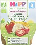 Hipp Biologique Traditions Gourmandes Légumes Basquaise Poulet Fermier dès 8 mois - 8 bols de 190 g