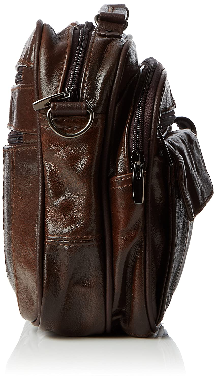 Lorenz Borsa da viaggio in pelle con tracolla staccabile e tasca per cellulare, colore: Marrone scuroMarrone chiaro