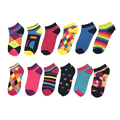 12-Pack or 6-Pack Women's Ankle Socks Moisture Control Cushioned with Arch Support (Multi-Color, Size 9-11)