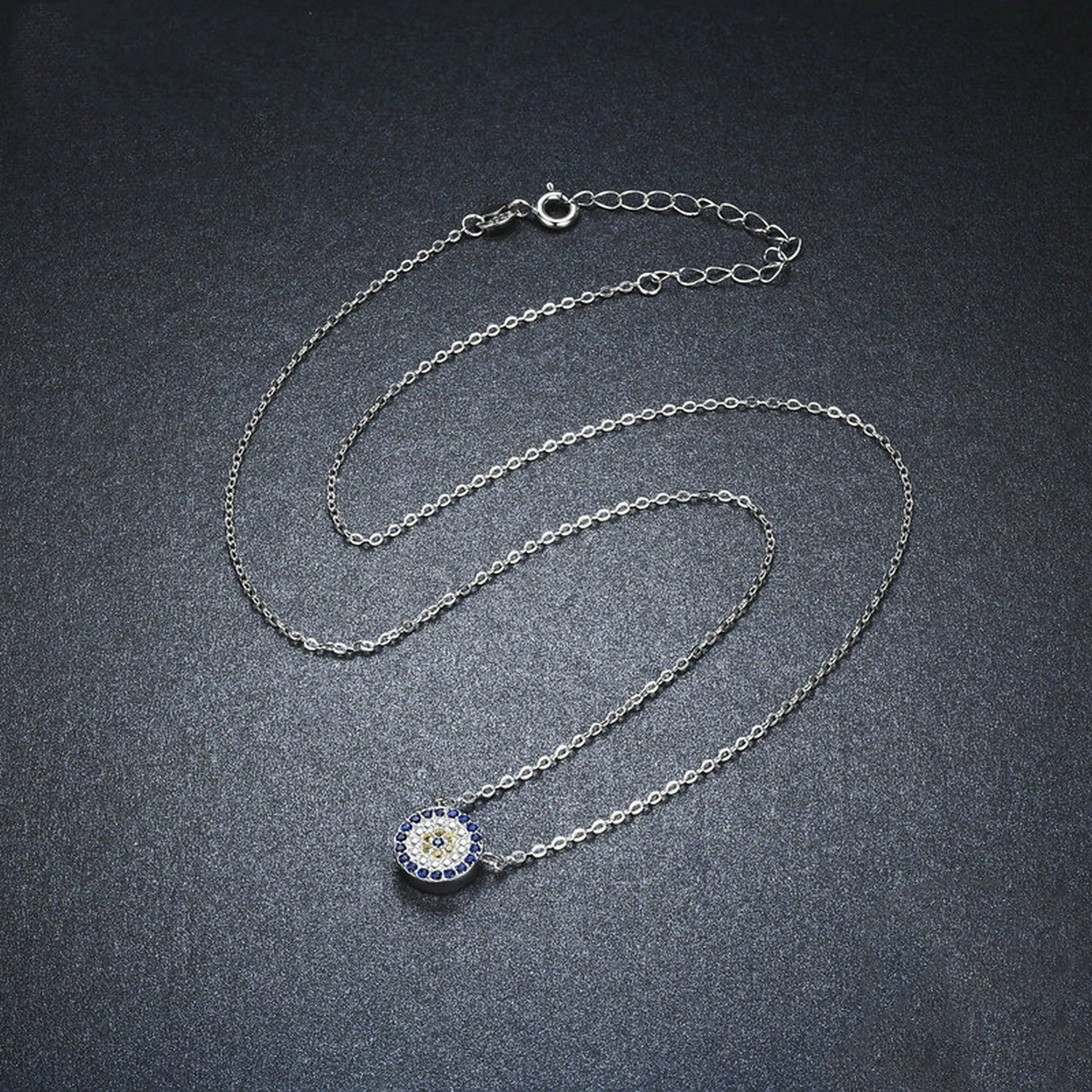CS-DB Jewelry Silver Trendy Round Blue Eyes Clear CZ Chain Charm Pendants Necklaces