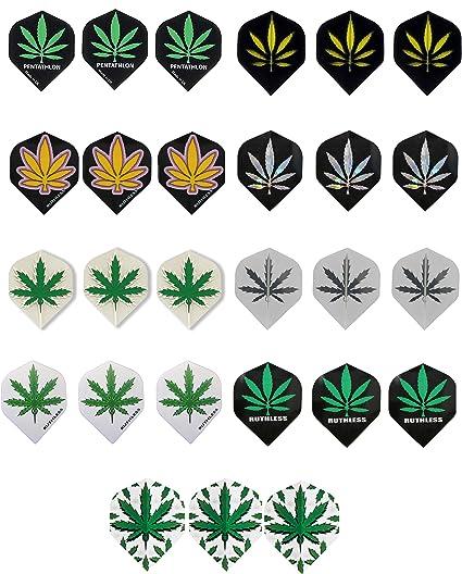Ruthless Clear green cannabis standard dart flights 5 sets