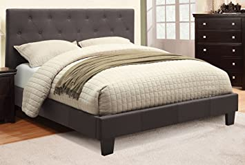corbin modern style charcoal gray finish full size flax fabric bed frame set - Fabric Bed Frames