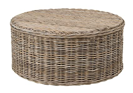 East At Main Bromley Grey Rattan Round Coffee Table, (39x39x18)