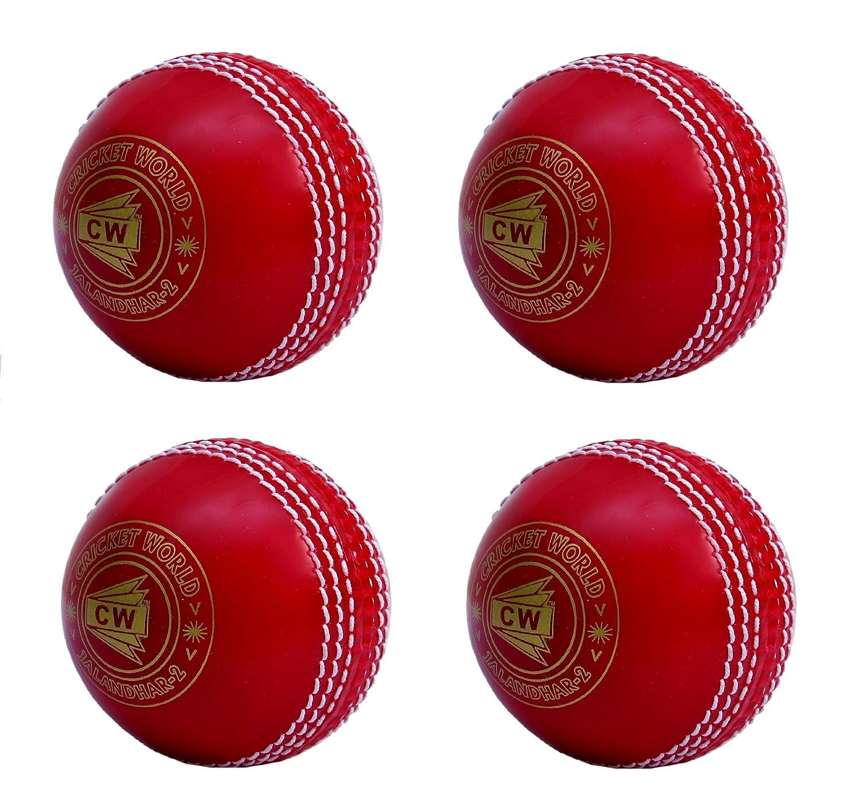 CW Lot de 4Spin Poly tous les sports Rouge Balle de cricket en PVC Souple adapté pour General et Pratiquer de formation, Coaching Cricket World