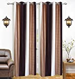 Ab Home Decor Premium quality Heavy Plain curtains for windows 5 feet set of 4- Cream n Brown
