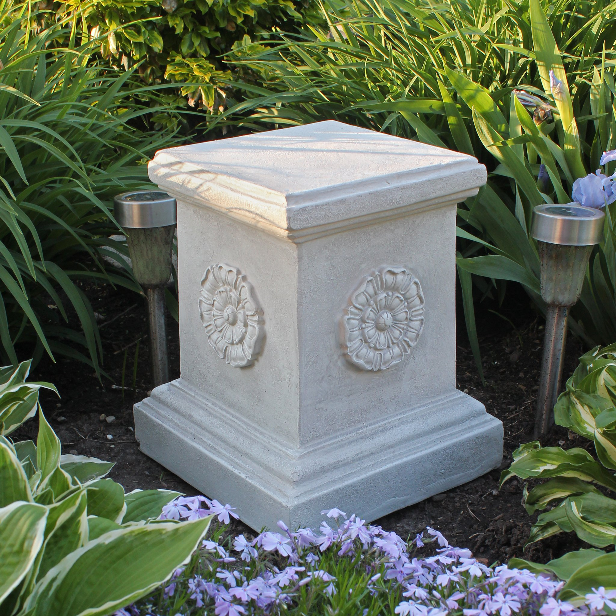Design Toscano English Rosette Sculptural Garden Plinth Base Riser, Large 13 Inch, Polyresin, Antique Stone by Design Toscano (Image #5)