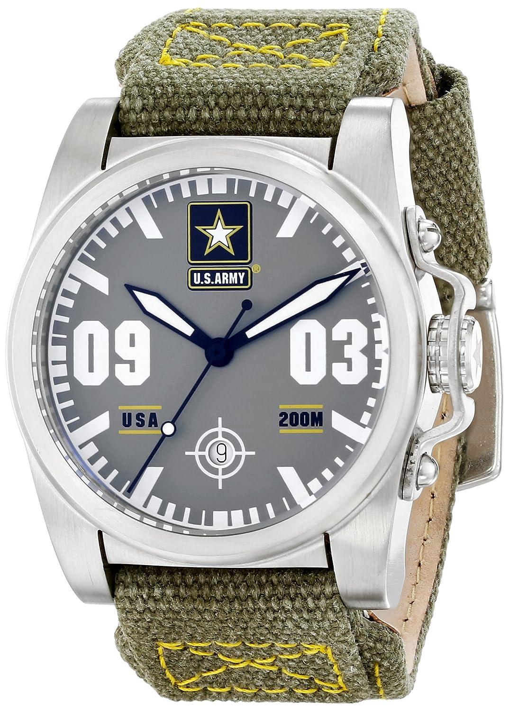 Wrist Armorメンズwa203 C1ステンレススチールAnalog Display Swiss Quartz Watch withグリーンキャンバスストラップ B00IJRVZU0