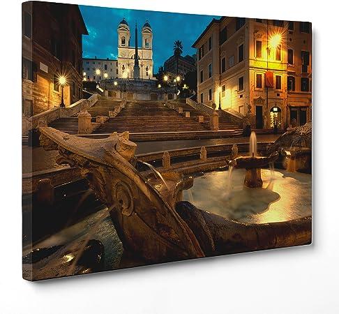 Cuadro sobre lienzo Canvas – ConKrea – Listo para colgar – Plaza de España – Roma: Amazon.es: Hogar