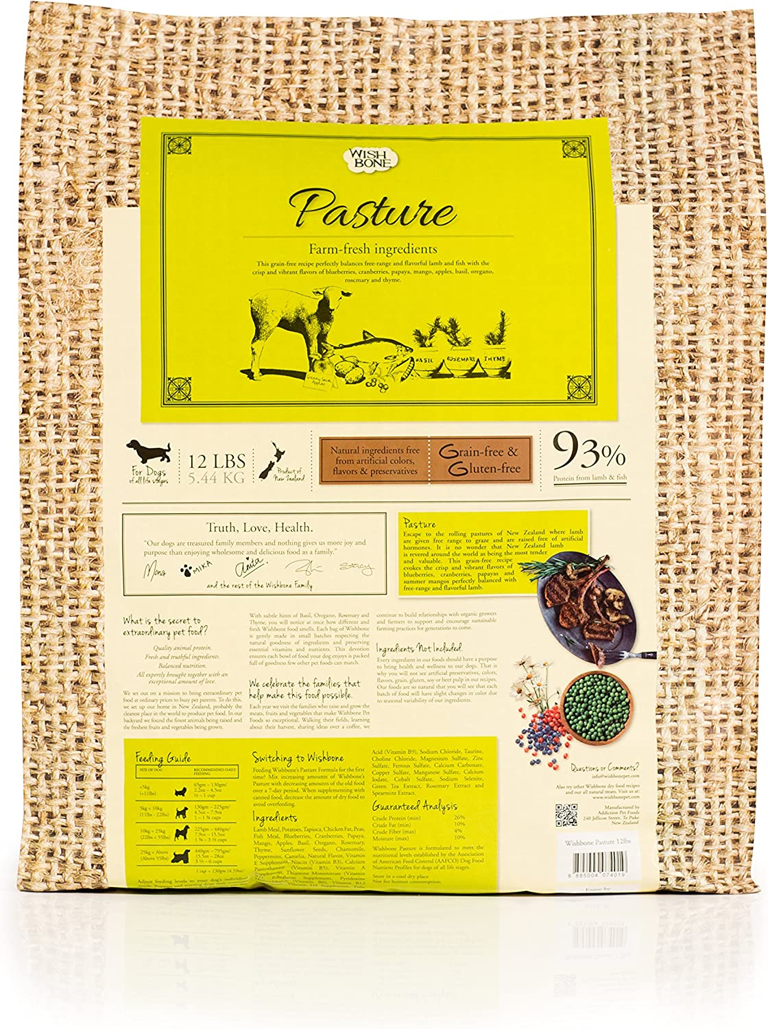 Wishbone Pasture Grain Free and Gluten Free Dry Dog Food, Made from New Zealand Lamb Dog Food, All Natural Dry Dog Food, Rich in Omega 3 and High Protein Dry Dog Food, 12 lbs