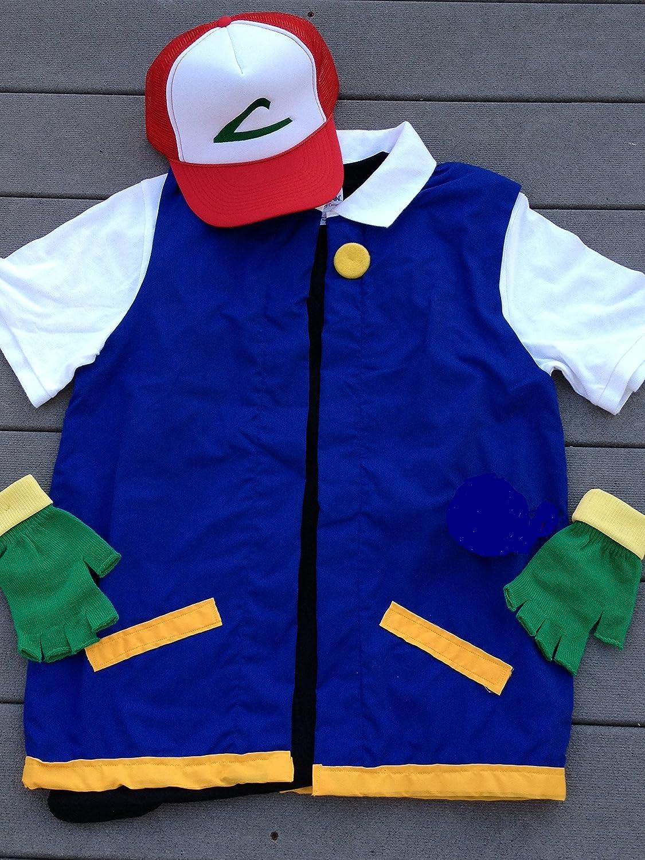 Cosplay pokemon trainer ash vest Japanese Animation Fantasy Costume Handmade