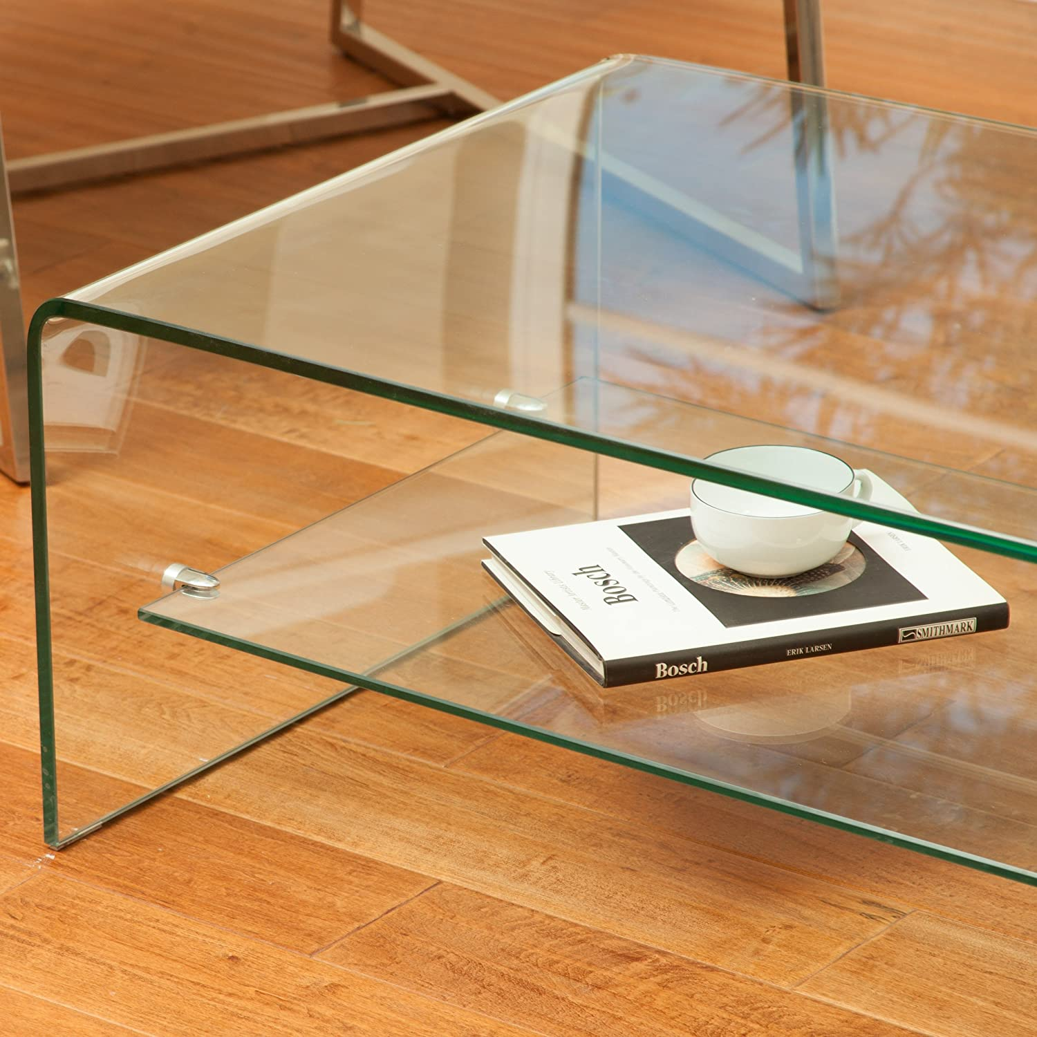 Amazon Charlize Glass Coffee Table Kitchen & Dining