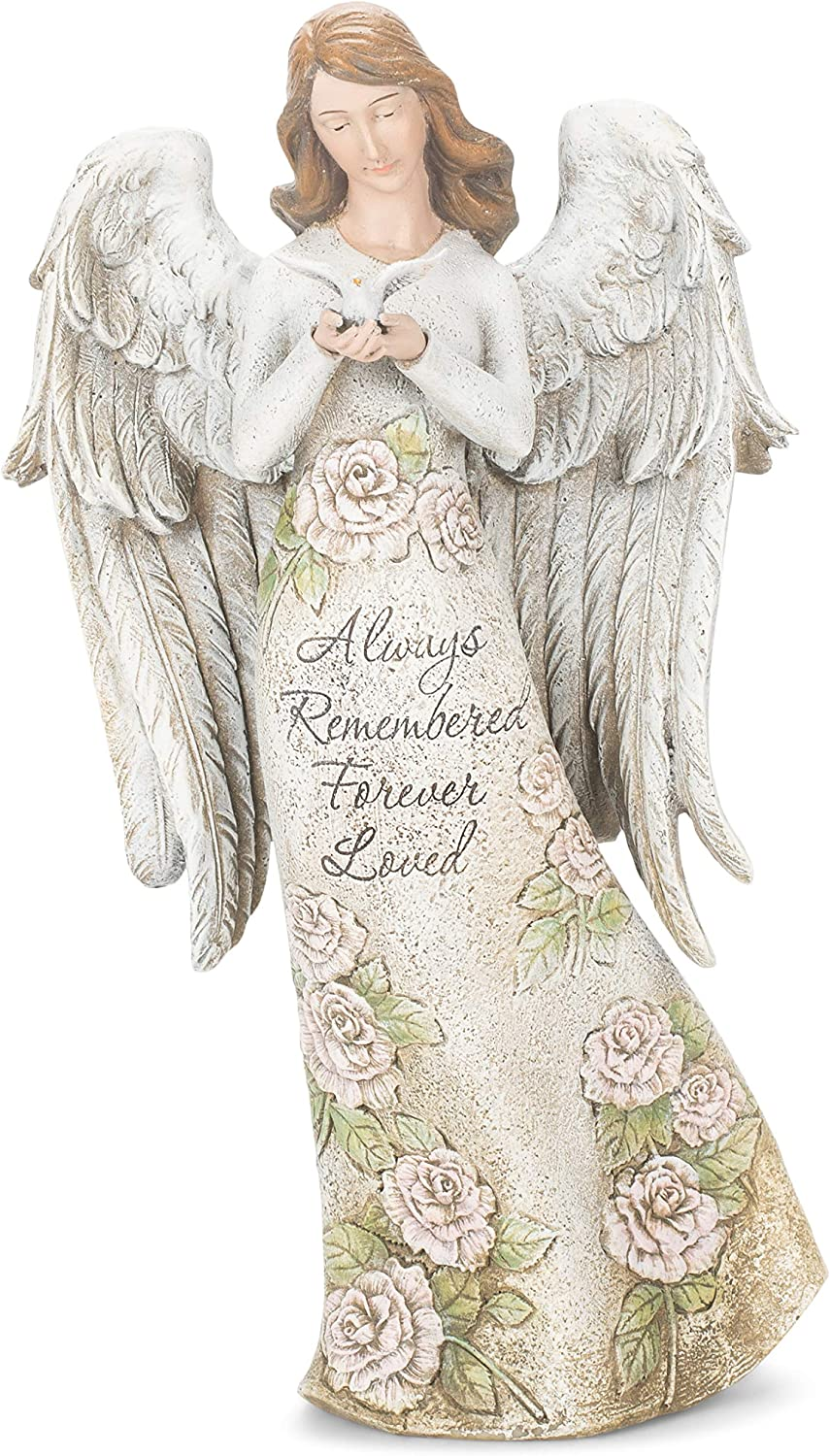 Roman 602094 Memorial Angel with Dove Statue, 13.25-inch High