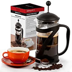 Savvy Coffee French Press Coffee Maker and Stainless Steel Coffee Scoop Bundle Set - 34 Oz