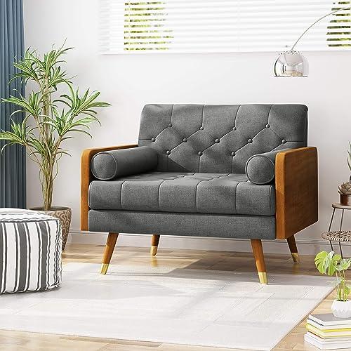 Christopher Knight Home 305750 Greta Mid Century Modern Fabric Club Chair, Gray, Dark Walnut