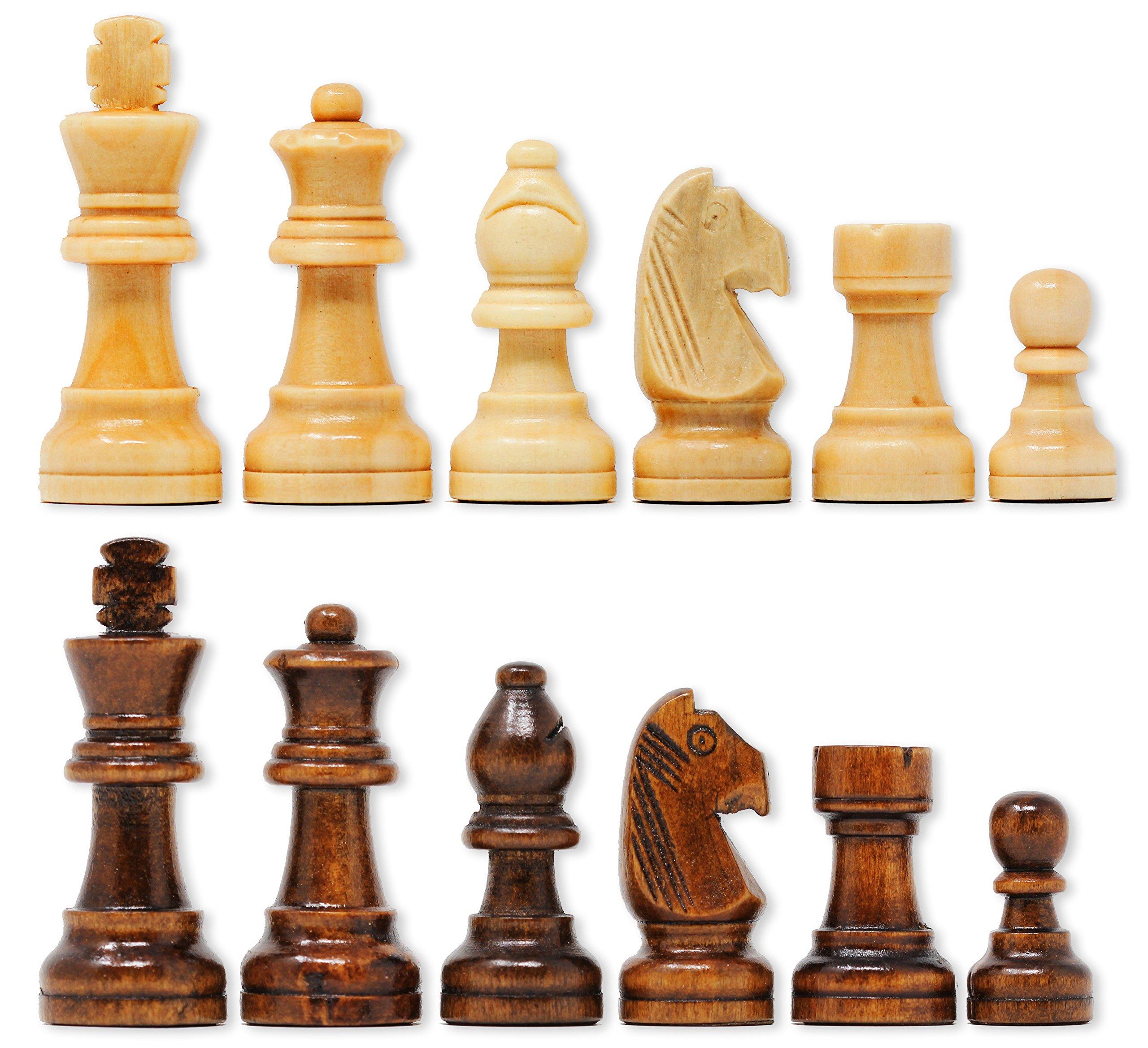 Da Vinci Staunton Wood Chess Pieces (32 Chessmen) & Storage Bag … (3 Inch King) by DaVinci (Image #2)