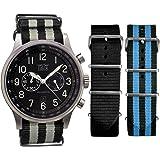 Davis-0450-NNG-NN-NNB - Montre Homme Aviateur 48mm - Chronographe - Etanche 50M - Bracelet Nato Noir et Gris + 2 Bracelets Nato Offerts