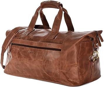 LEABAGS Santa Cruz sac de voyage rétro-vintage en véritable cuir de buffle - Marron ILOmYnE0M