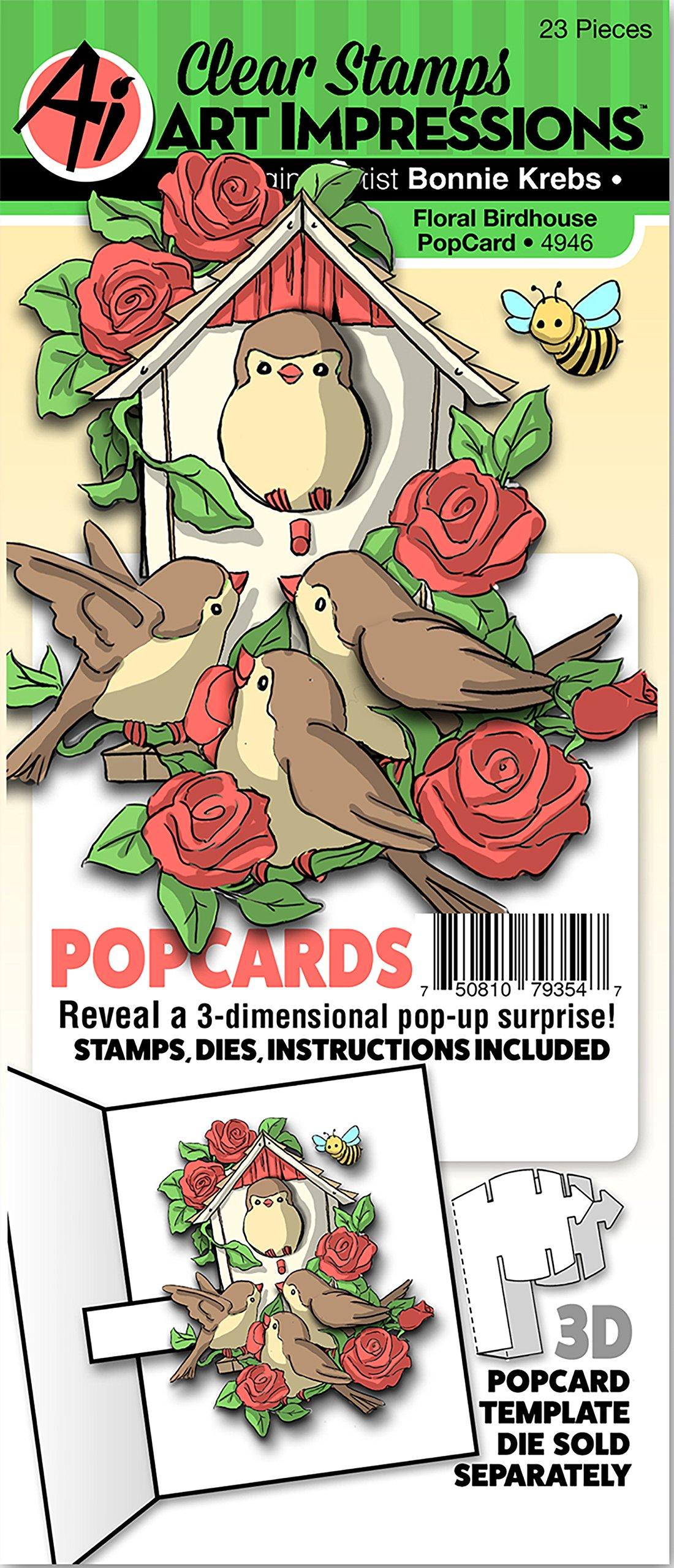 Art Impressions PopCard Clear Stamp & Die Set-Floral Birdhouse