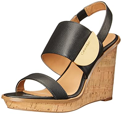 Calvin Klein Women's Padma Wedge Sandal, Black, ...