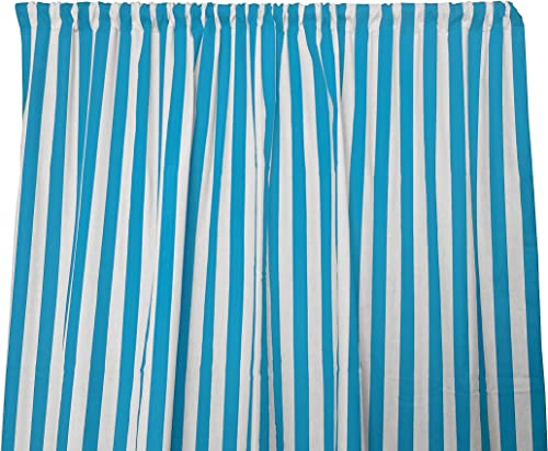 lovemyfabric Cotton 1 Stripe Print Curtain Panel 58 Wide Home Decor Window Treatment Photography Backdrop Perfect for Children s Bedroom, Nursery, Party, Kitchen 120 Tall, Turquoise White
