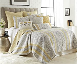 Levtex St. Claire King Cotton Quilt Set, Grey/Gold, Damask