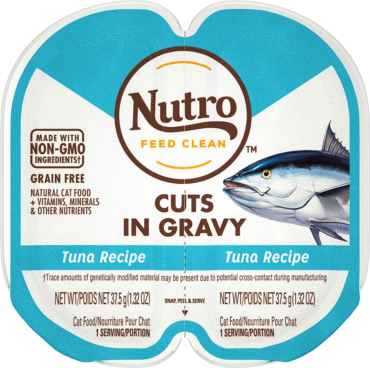 NUTRO PERFECT PORTIONS Cuts in Gravy Real Tuna Wet Cat Food Trays 2.65 Ounces (24 Twin Packs)