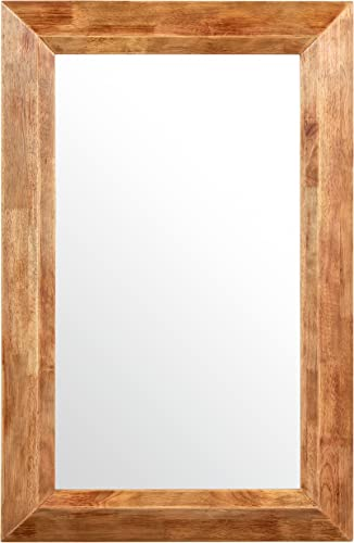 Amazon Brand Stone Beam Rustic Wood Frame Hanging Wall Mirror, 39.75 Inch Height, Natural