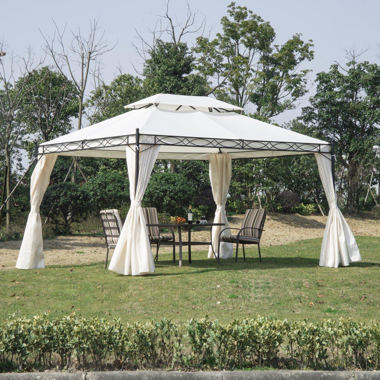 Outsunny Carpa Pabellon Cenador de Jardin Blanca con Cortinas 3x4x2,8 Metros Nuevo: Amazon.es: Hogar